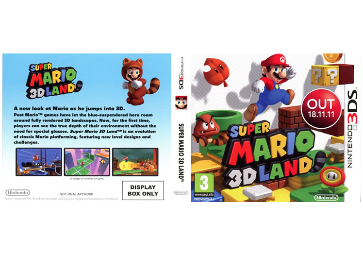 Super Mario 3D Land Display Only Box Art - Nintendo 3DS
